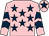 Pink, dark blue stars, chevrons on sleeves, pink cap, dark blue star