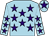 Light blue, purple stars, light blue cap, purple star