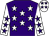 Purple, white stars, white sleeves, purple stars, white cap, purple stars