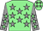 Light green, grey stars, grey sleeves, light green stars, light green cap, grey stars