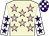 Beige, pink stars, white sleeves, purple stars, purple and white check cap