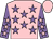 Pink, mauve stars, mauve sleeves, pink stars and cap
