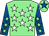 Light green, white stars, royal blue sleeves, light green stars, light green cap, royal blue star